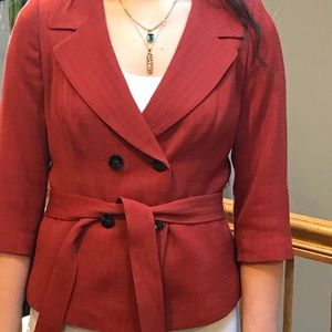 Cute rust colored Classique belted jacket